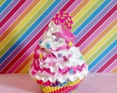 Candy Swirl Fake Cupcake Photo Prop with Confetti Sprinkles Pink and White Frosting for Birthday Party Decorations Shop Displays Home Accent