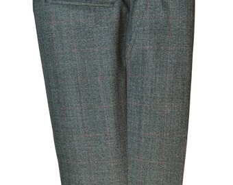 Size 35 Waist / 28 Inseam Dark Gray Prince of Wales Check Pants with Red Checks
