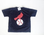 Cardinal Bird on a Baseball T Shirt for Kids, Babies and Toddlers, Navy Blue Baseball