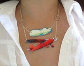 Retro Airplane and Clouds Statement Necklace Red Unique Travel