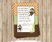 Monkey Boy Invitation orange green Birthday Party  PRINTABLE Invitation 5x7 4x6 orange green brown BOY  safari birthday decor diy