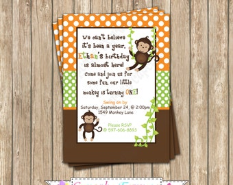 Monkey Boy Invitation orange green Birthday Party  PRINTABLE Invitation 5x7 4x6 orange green brown BOY  safari birthday decor diy