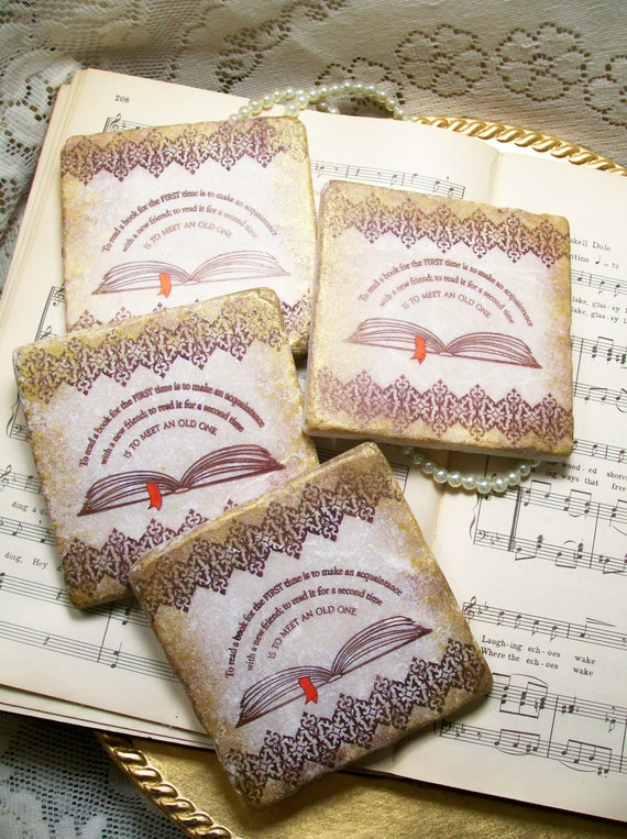 Reading Gifts Book Lovers 39 Coaster Set Of 4 To By Prayernotes
