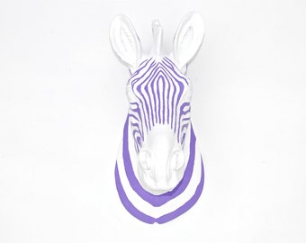 Faux Taxidermy - Zebra Head Wall Mount - White and Lavender Striped Zebra Z0164