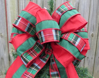 Christmas Tree Topper - Traditional Double Sided Tree Top Bow, Elegant Plaid, Emerald, and Red, Green and Red, Tartan Bow