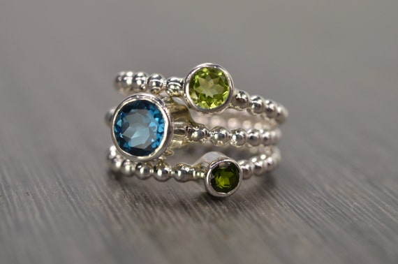 London Blue Topaz Peridot Chrome Diopside Stack Rings, silver gold green blue stacking stackable jewelry - Carmine Rings