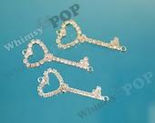 1 - Crystal Rhinestone Heart Skeleton Key Pendant Style Connector Charms, Skeleton Key Charms, 42mm x 20mm (5-5E)