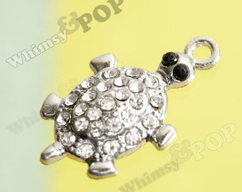 1 - Tortoise Turtle Little Turtle Pink Silver Alloy Rhinestone Charms, Turtle Charm, 24mm x 17mm  (5-1A)