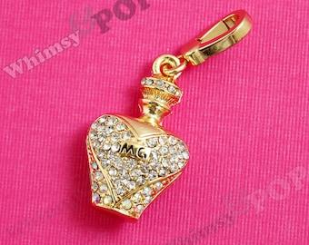 1 - 3D Diamante Perfume Parfum Bottle Rhinestone Pendant Enamel Charm, Perfume Charm, 35mm x 21mm (5-1D)