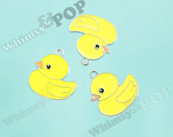 Silver Tone Alloy Toy Rubber Ducky Charms, Duck Charms, 24mm x 25mm (1-5D)