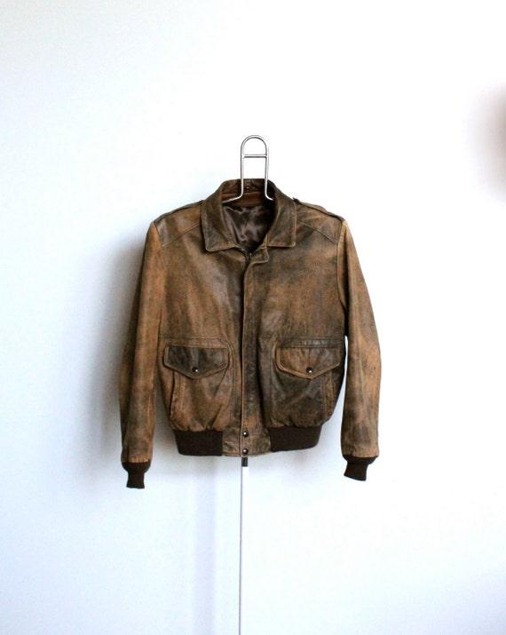 Distressed Brown Leather Bomber Jacket Coat Mens Medium Large