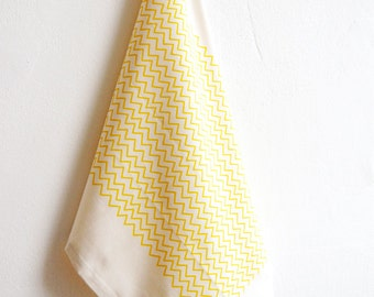 Tea Towel Organic Cotton Handprinted Sunny Yellow