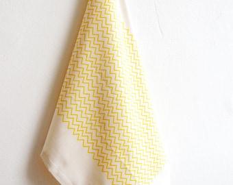 Tea Towel Organic Cotton Handprinted Sunny Yellow