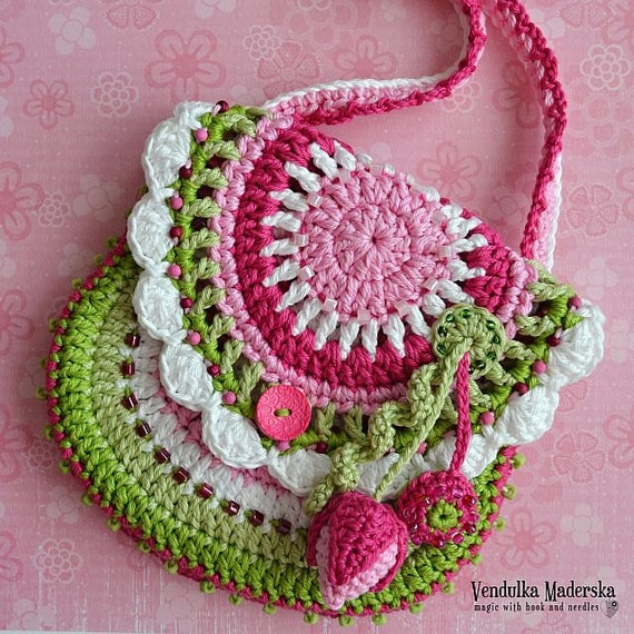 Crochet pattern - Flower purse  by VendulkaM, digital pattern, DIY/PDF