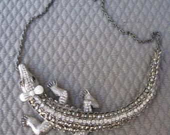 Gun Metal Sparkling Summer Crocodile Necklace