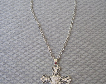 Elaborate Heart Shaped Victorian Silver Cross Pendant and Chain with Faceted Clear Crystals