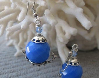 Faceted Beach Blue Chalcedony Bead Silver Tea Pot Earrings