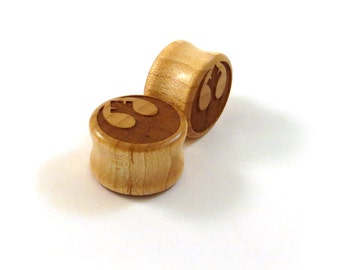 "Rebellious Maple Wooden Plugs  PAIR  2g 6.5mm 0g 8mm 00g 9mm 10mm 7/16"" 11mm 1/2"" 13mm 9/16"" 14mm 5/8"" 16mm 3/4"" 19mm 7/8"" and up Ear Gauges"