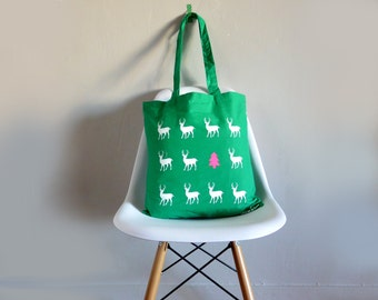 Fall Green tote bag with beautiful white deers and neon pink fri tree.