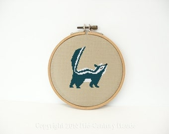 Skunk Cross Stitch Pattern Mid Century Instant needlepoint download