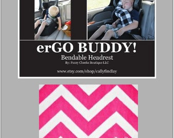Neck Rest for Travel erGO BUDDY Bendable baby / toddler headrest carseat pillow and cover in Pink Chevron