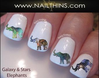 Nail Decal Galaxy Elephant Nail Design Nail Art NAILTHINS