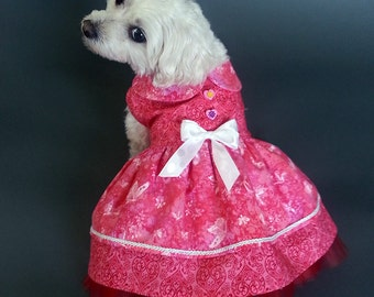 Double Layered Red Tulle Dog Dress With Double Layered Skirt with Hearts and Butterflies Design