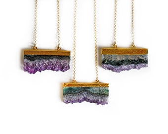 Raw Amethyst Slice Necklace - Long