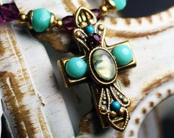 Michal Golan Small Purple and Turquoise Cross Necklace