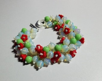 Green Red Seafoam Flower Chunky Cluster Bracelet, Christmas Gift, Mom Sister Jewelry Gift, Spring, OOAK