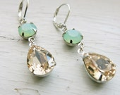 Mint Champagne Earrings Vintage Swarovski Crystal Mint Green Earrings Bridesmaid Earrings Champagne Rhinestone Earrings Bridal Jewelry
