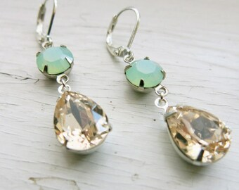 Mint Champagne Earrings Vintage Swarovski Crystal Mint Green Earrings Bridesmaid Earrings Champagne Rhinestone Earrings Bridal Jewelry