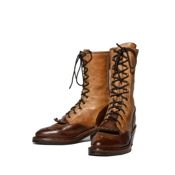 size 7 1 2 s chippewa packer boots two tone lace up