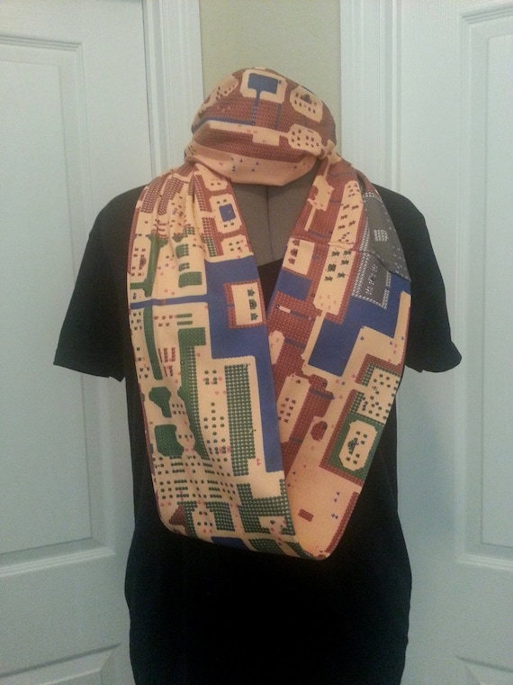 Zelda Overworld map KNIT scarf - Infinity or Regular style - made to order