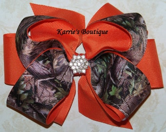 Camo Hair Bow or Headband / Mossy Oak & Orange / Bling / Flower Girl / Pageant / Infant / Baby / Girl / Toddler / Custom Boutique Clothing