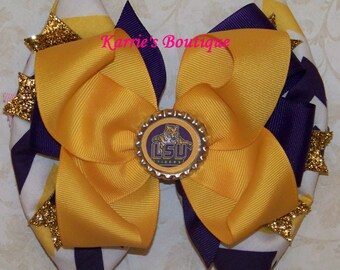 LSU Hair Bow or Headband / Purple & Gold Chevron / Geaux Tigers / Game Day / Football / Infant / Baby / Girl / Toddler / Boutique Clothing