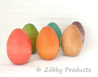 Natural Solid Wooden Easter Egg by Zúbky - Available in a Rainbow of Colors with Natural Beeswax Polish Finish - Easter Basket