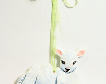 OOAK Hanging Lamb Easter Spring Ornament Decoration