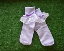 Lavendar -  Lace Socks with Bow for Little Girls - Size 8-9 1/2 (M) - US Shoe Size 12-6