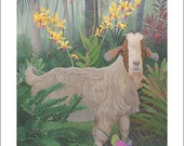 Kauai Goat with Orchids, Small Giclee Print