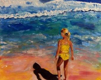 Beach Painting Oil Painting of Beach Scene Girl Pondering the Ocean, Beach Scene, Ocean Waves Original Oil Painting by Marlene Kurland
