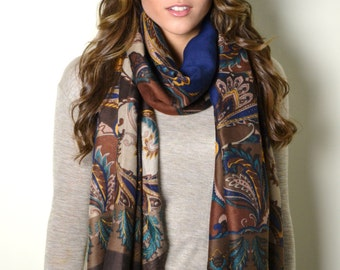 Brown Timeless Paisley Scarf Wrap Shawl Hand Fringed Fashion Accessory Gift Idea