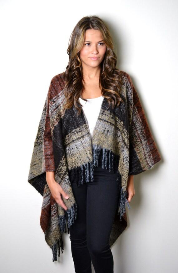 Knitting Pattern For Blanket Poncho : Boho Blanket Poncho Knitted Poncho Boho Fringed by AnytimeScarf