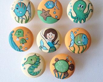 Bright Underwater / Ocean Drawer Pulls / Dresser Knobs / Closet Handles / Hand Painted for Girls, Kids, Nursery Rooms