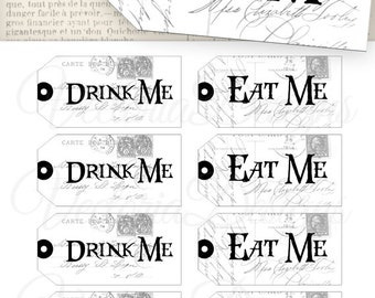 Drink Me Tags Eat Me Tags eco save ink instant download printable gift tags digital Collage Sheet VDTAAL0879