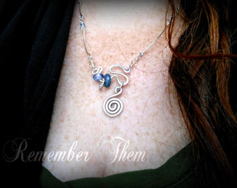 Memorial Keepsake Necklace with Lampwork Glass Cremains Bead in Argentium Streling Silver,  Custom Made