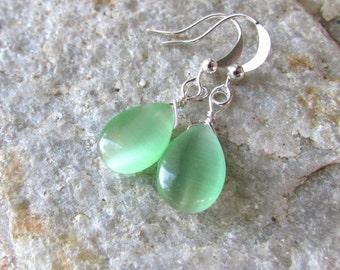 Mint Green earrings and Silver Teardrop wedding set bridal Bridesmaids cats eye fiber optics dangle ear rings