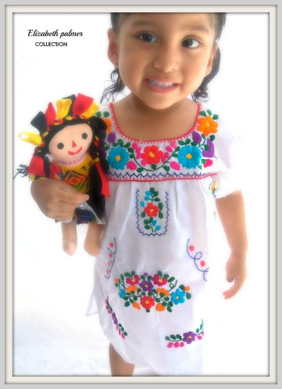 Sarita ethnic mexican embroidered baby dress by