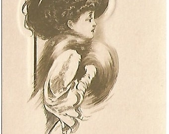Victorian Lady with Muff and Merry Widow Hat - Antique Postcard Copyright 1910 Sienne Sepia A Gibson Card