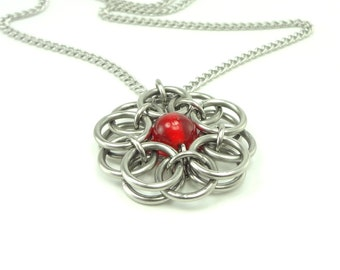 Celtic Knot Necklace Hanmaid Chainmaille With Red Glass Bead